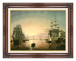 Fitz Hugh Lane Boston Harbor At Sunset canvas with dark regal wood frame