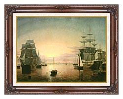 Fitz Hugh Lane Boston Harbor At Sunset canvas with dark regal wood frame