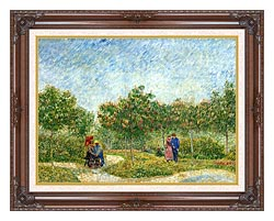 Vincent Van Gogh Courting Couples In A Public Park In Asnieres canvas with dark regal wood frame