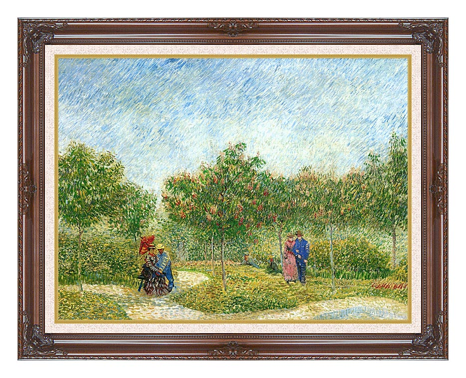 Vincent van Gogh Courting Couples in a Public Park in Asnieres with Dark Regal Frame w/Liner