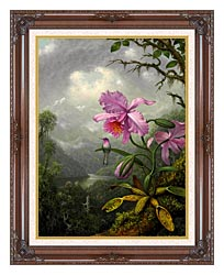 Martin Johnson Heade Hummingbird Perched On The Orchid Plant canvas with dark regal wood frame