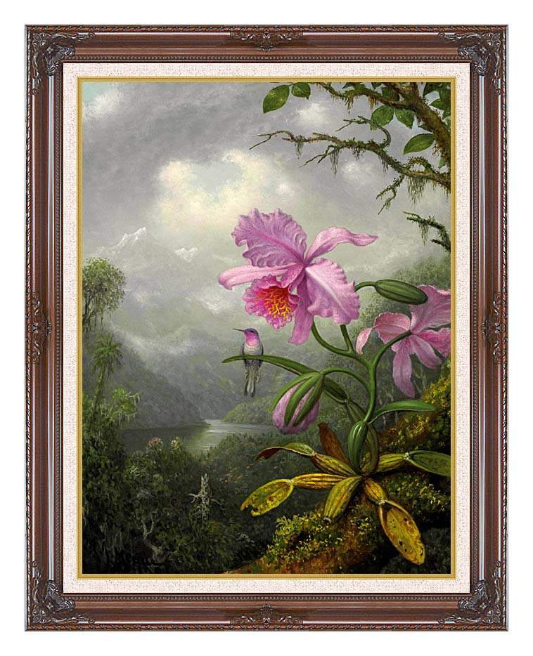 Martin Johnson Heade Hummingbird Perched on the Orchid Plant with Dark Regal Frame w/Liner