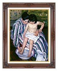 Mary Cassatt The Bath canvas with dark regal wood frame
