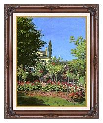 Claude Monet Garden In Bloom canvas with dark regal wood frame