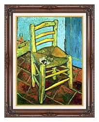 Vincent Van Gogh Vincents Chair With His Pipe canvas with dark regal wood frame