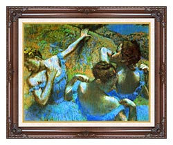 Edgar Degas Blue Dancers Detail canvas with dark regal wood frame