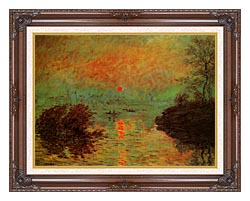 Claude Monet Sunset On The Seine At Lavacourt Winter Effect canvas with dark regal wood frame