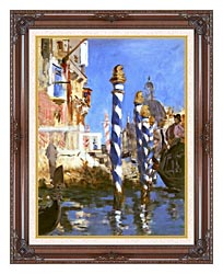 Edouard Manet The Grand Canal   Venice Italy canvas with dark regal wood frame