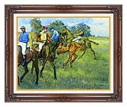 Edgar Degas Race Horses canvas with dark regal wood frame