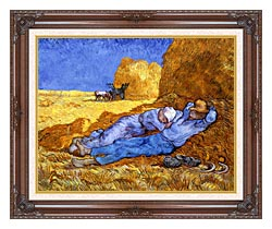 Vincent Van Gogh Noon Rest From Work canvas with dark regal wood frame