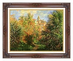 Claude Monet Gardens At Bordighera canvas with dark regal wood frame