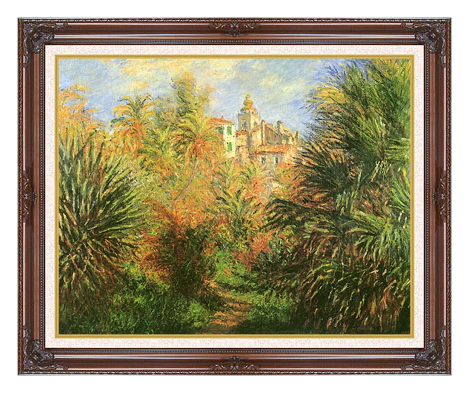 Claude Monet Gardens at Bordighera with Dark Regal Frame w/Liner