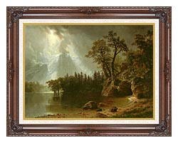 Albert Bierstadt Passing Storm Over The Sierra Nevadas canvas with dark regal wood frame