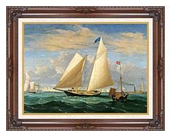 Fitz Hugh Lane The Yacht America Winning The International Race canvas with dark regal wood frame