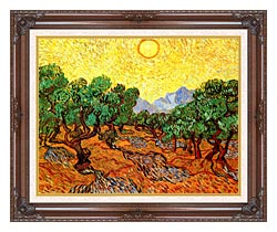Vincent Van Gogh Olive Trees With Yellow Sky And Sun canvas with dark regal wood frame