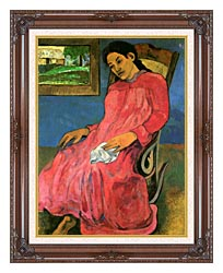 Paul Gauguin The Dreamer canvas with dark regal wood frame