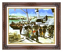 Edouard Manet The Departure Of The Folkestone Boat canvas with dark regal wood frame
