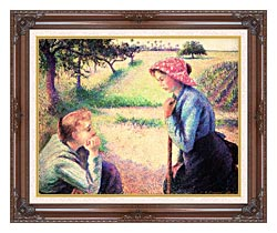 Camille Pissarro The Chat canvas with dark regal wood frame