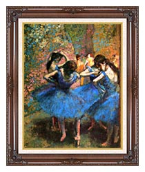 Edgar Degas Dancers In Blue canvas with dark regal wood frame