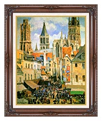 Camille Pissarro The Old Market Place In Rouen And The Rue De Lepicerie canvas with dark regal wood frame