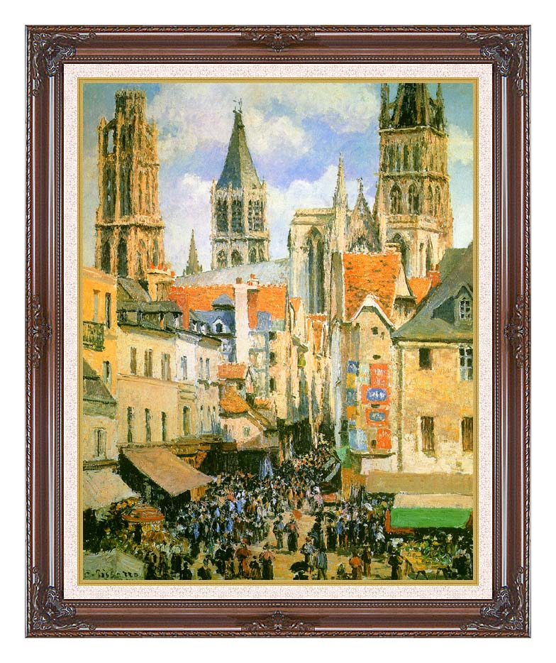 Camille Pissarro The Old Market-Place in Rouen and the Rue de l'Epicerie with Dark Regal Frame w/Liner