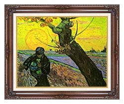 Vincent Van Gogh The Sower 1888 canvas with dark regal wood frame