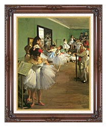 Edgar Degas The Dance Class canvas with dark regal wood frame