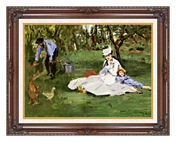 Edouard Manet The Monet Family In Their Garden At Argenteuil canvas with dark regal wood frame