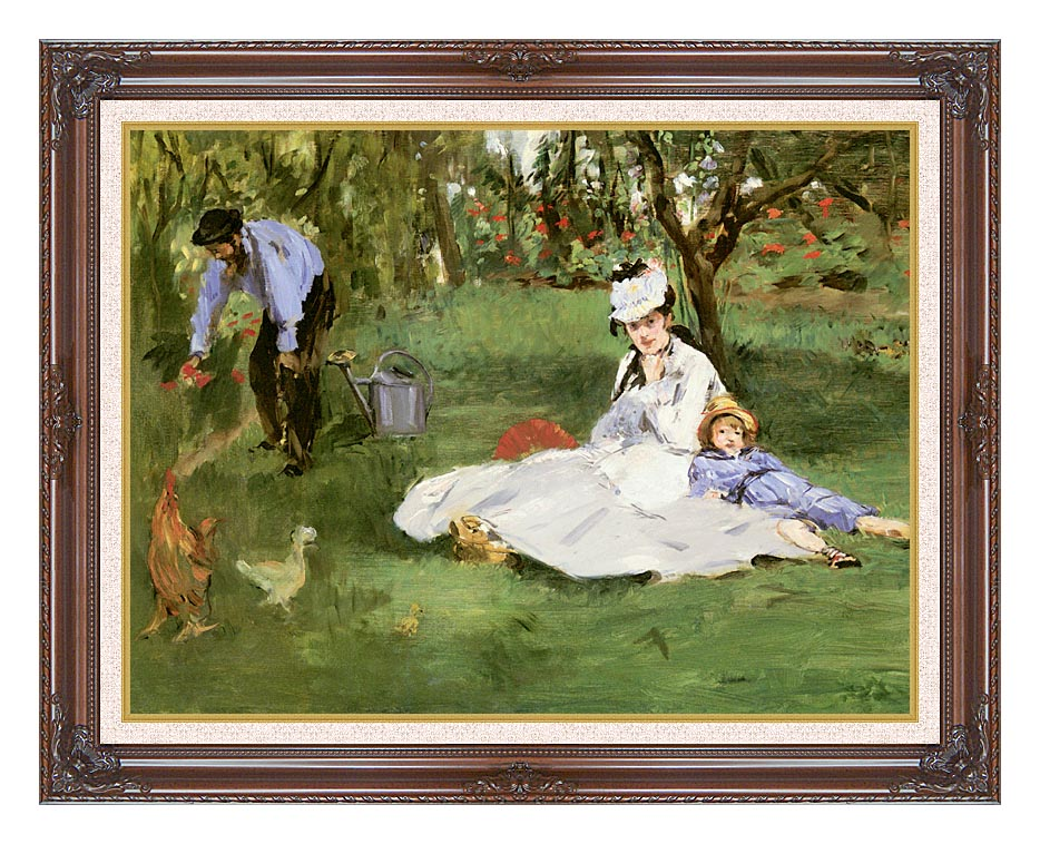 Edouard Manet The Monet Family in their Garden at Argenteuil with Dark Regal Frame w/Liner