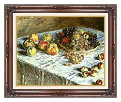 Claude Monet Still Life Apples And Grapes canvas with dark regal wood frame