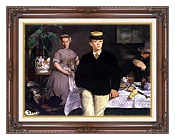 Edouard Manet Luncheon In The Studio canvas with dark regal wood frame