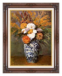 Paul Cezanne Dahlias In A Delft Vase canvas with dark regal wood frame
