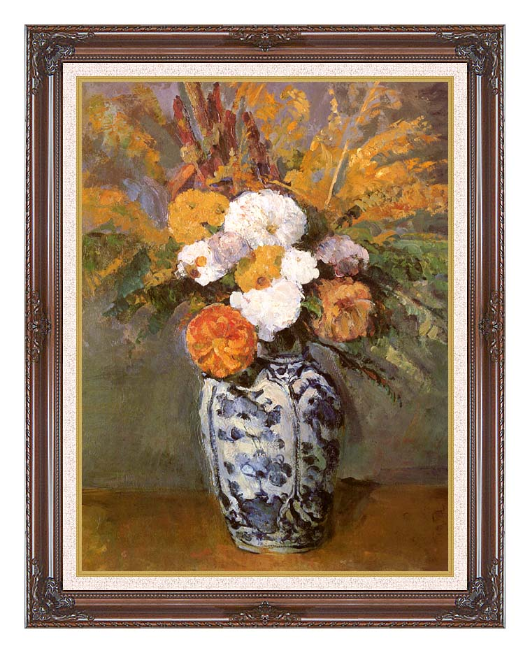 Paul Cezanne Dahlias in a Delft Vase with Dark Regal Frame w/Liner