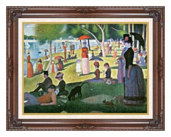 Georges Seurat Sunday Afternoon On The Island Of La Grande Jatte canvas with dark regal wood frame