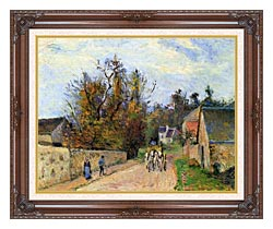 Camille Pissarro The Mailcoach   The Road From Ennery To The Hermitage canvas with dark regal wood frame