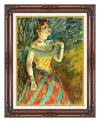 Edgar Degas The Singer In Green canvas with dark regal wood frame