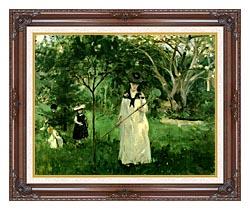 Berthe Morisot Chasing Butterflies canvas with dark regal wood frame