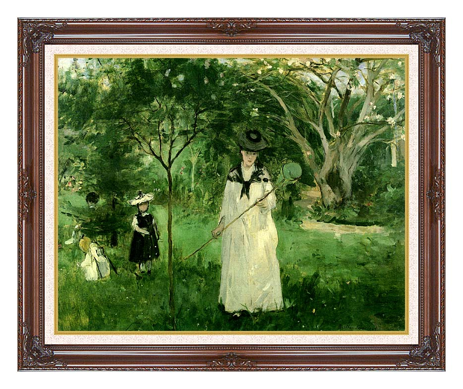 Berthe Morisot Chasing Butterflies with Dark Regal Frame w/Liner