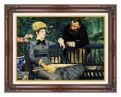 Edouard Manet In The Conservatory canvas with dark regal wood frame