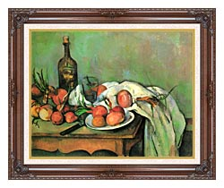 Paul Cezanne Still Life With Onions canvas with dark regal wood frame