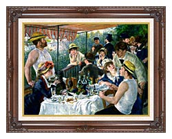 Pierre Auguste Renoir The Luncheon Of The Boating Party canvas with dark regal wood frame