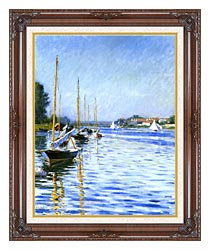 Gustave Caillebotte Boats On The Seine At Argenteuil canvas with dark regal wood frame