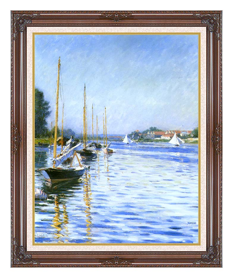 Gustave Caillebotte Boats on the Seine at Argenteuil with Dark Regal Frame w/Liner