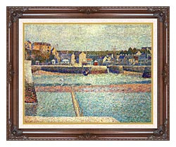 Georges Seurat Port En Bessin The Outer Harbor At Low Tide canvas with dark regal wood frame
