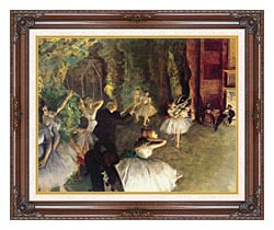 Edgar Degas Ballet Rehearsal On Stage canvas with dark regal wood frame