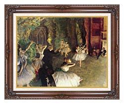 Edgar Degas Ballet Rehearsal On Stage canvas with dark regal wood frame