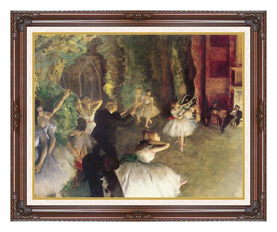 Edgar Degas Ballet Rehearsal on Stage with Dark Regal Frame w/Liner