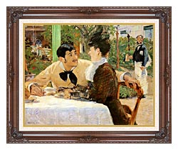 Edouard Manet In The Garden Restaurant Of Pere Lathuille canvas with dark regal wood frame