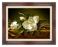 Martin Johnson Heade Magnolias On A Gold Velvet Cloth canvas with dark regal wood frame