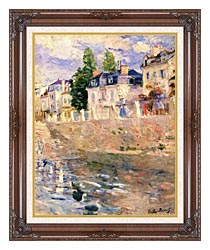 Berthe Morisot The Quay At Bougival canvas with dark regal wood frame